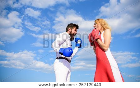 Be Ready Defend Your Point View. Man And Woman Fight Boxing Gloves Blue Sky Background. Defend Your