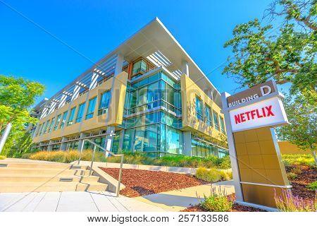 Los Gatos, California, United States - August 12, 2018: Netflix Logo At Netflix Headquarters In Sili