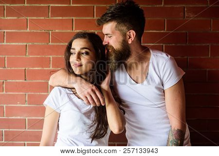 Moments Of Intimacy. Couple Find Place To Be Alone. Couple In Love Hugs Brick Wall Background. Girl