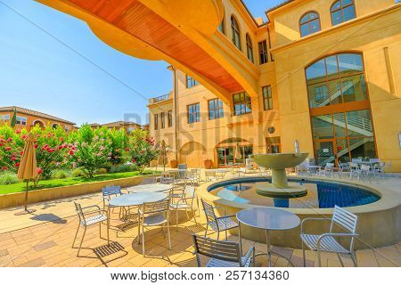 Los Gatos, California, United States - August 12, 2018: The Building A And B: Main Lobby, A Spanish-