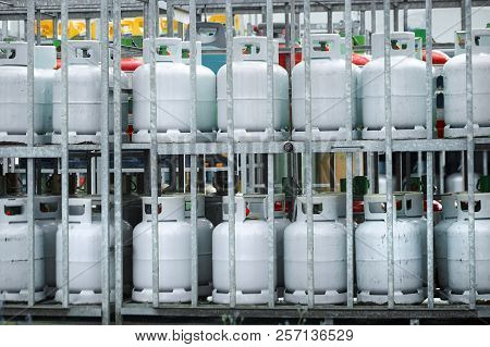 Gas Cylinders. Bottles With Propane Or Butane