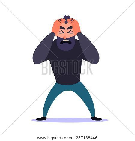 Frustrated Man Clings To His Head And Screams. Guy Anxiety Disorder. Mental Health Problems, Panic A