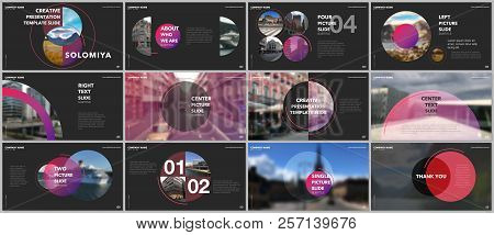 Minimal Presentations Design, Portfolio Vector Templates With Circle Elements On Black Background. M