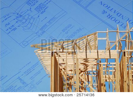 Building Plans Behind Housing Construction