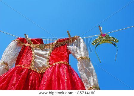 Princess Dress and Tiara on Clothes Line