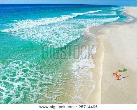 Beach umbrella and chairs