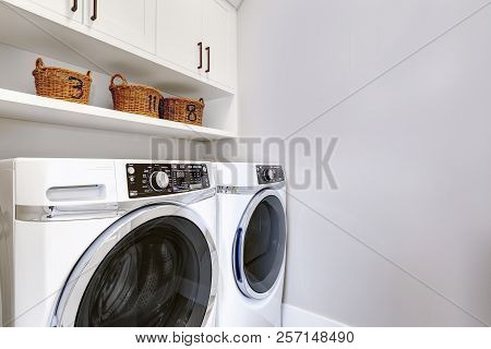 White Clean Laundry Room Modern With Washer And Dryer