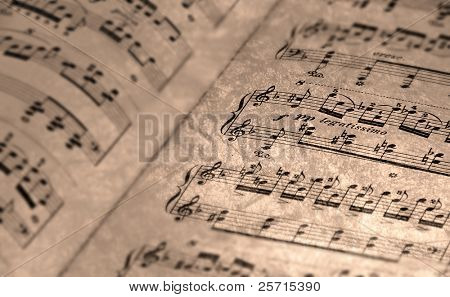 Antiqued Sheet Music for Background