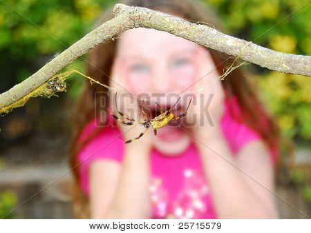Frightened Girl Screaming After Seeing Huge Spider