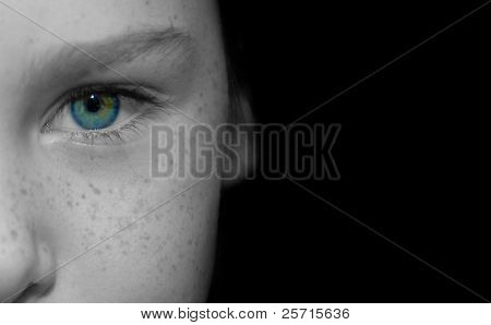 Blue Eye and Freckled Face