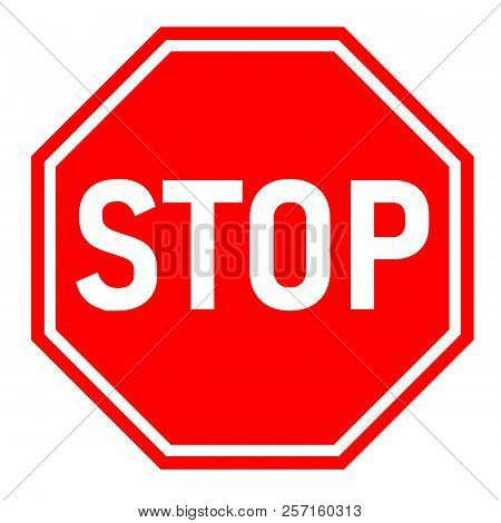 Red Stop Sign On White Background. Flat Style. Red Stop Sign For Your Web Site Design, Logo, App, Ui