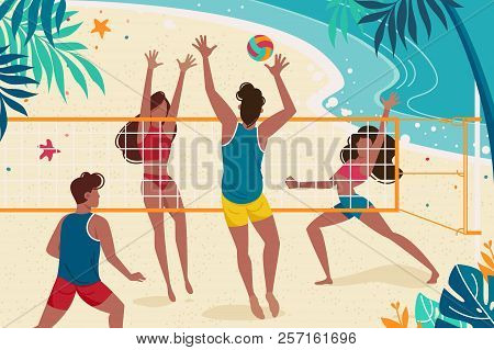 Young People Are Resting On Seashore. Concept Women And Men Playing Volleyball On The Beach. Vector