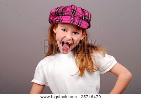 Cute Young Girl in Newsboy Cap