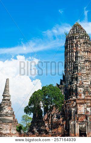 Wat Chaiwatthanaram, The Historical Park In Ayutthaya Province Of Thailand, Famous Tourist Landmark
