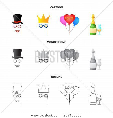 Vector Design Of Party And Birthday Logo. Set Of Party And Celebration Stock Symbol For Web.