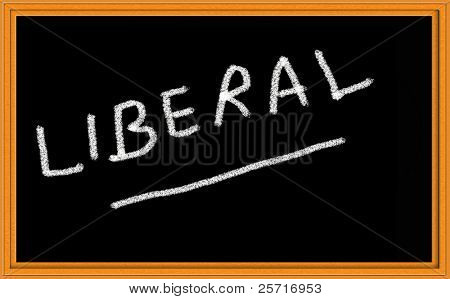 Liberal written on chalkboard
