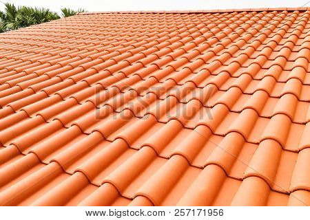 Closeup Of New Red Color Clay Ceramic Roof