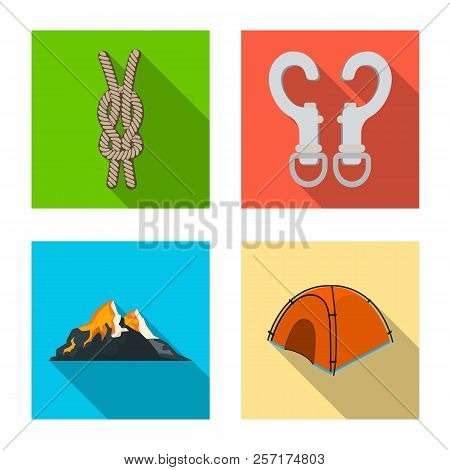 Isolated Object Of Alpinism And Peak Logo. Collection Of Alpinism And Camp Stock Symbol For Web.