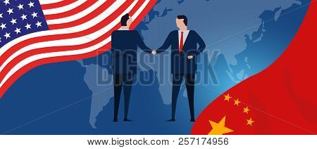Usa And China Reach Out Their Hands Maing Deals Handshake International Agreement Cooperation Ending