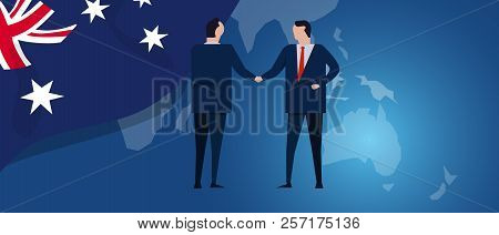 Australia International Partnership. Diplomacy Negotiation. Business Relationship Agreement Handshak