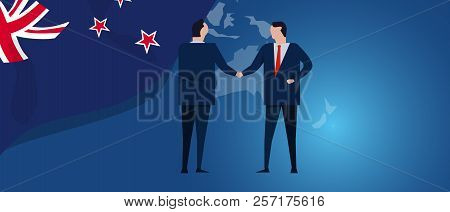 New Zealand International Partnership. Diplomacy Negotiation. Business Relationship Agreement Handsh