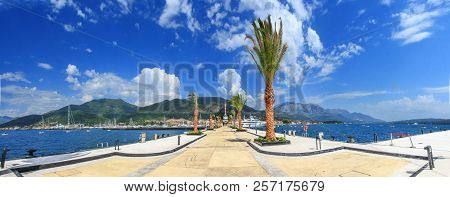 Stitched Panoramthe Pier Of The Modern Resort Town Of Porto Montenegro Leaves From Us To The Bottom