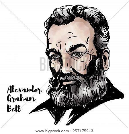 Alexander Graham Bell Watercolor Vector Portrait With Ink Contours. Scottish-born Scientist, Invento