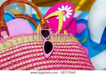 Beach Bag, Sunglasses and Flip Flops