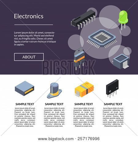 Vector Isometric Microchips And Electronic Parts Icons Landing Page Template Illustration