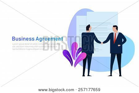 Business People Agreement Standing Handshake Wearing Suite Formal. Concept Vector Banner Style