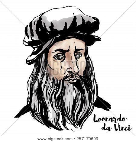 Leonardo Da Vinci Watercolor Vector Portrait With Ink Contours.