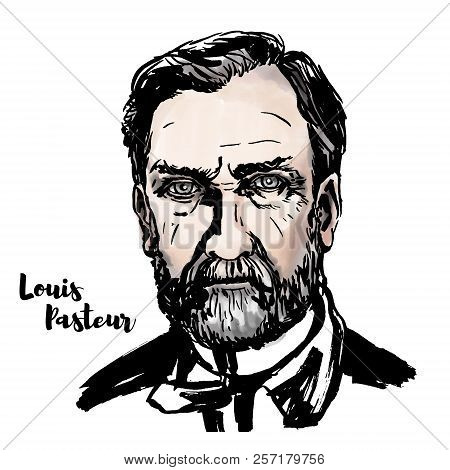 Louis Pasteur Watercolor Vector Portrait With Ink Contours. French Biologist, Microbiologist And Che