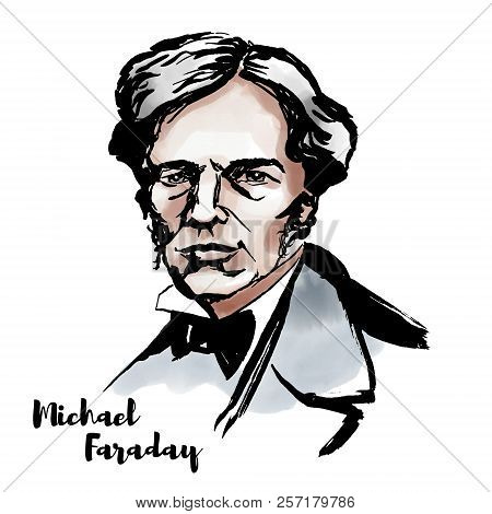 Michael Faraday Watercolor Vector Portrait With Ink Contours. English Scientist Who Contributed To T