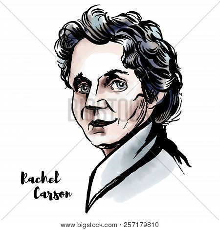 Rachel Louise Carson Watercolor Vector Portrait With Ink Contours. American Marine Biologist, Enviro