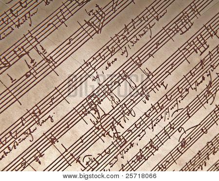 Old hand written sheet music