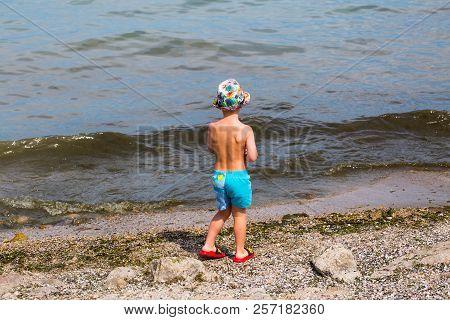 Little Boy On Lake, Gardasee, Beach, Sun