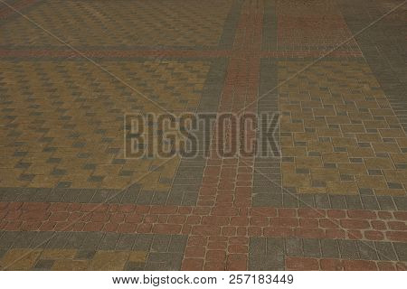 Stone Color Texture Of Paving Tiles On The Road