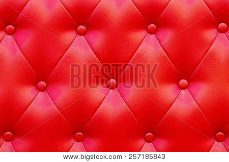 Elegant Saturated Glossy Red Leather Texture Of Sofa Chair