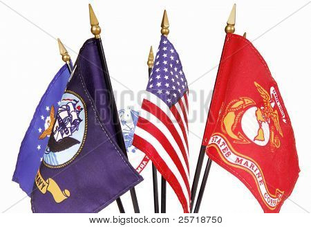 Display of U.S. Flag along with military service flags