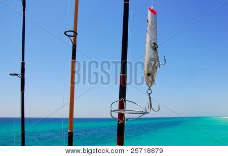 Fishing poles and lure with beautiful ocean in distance