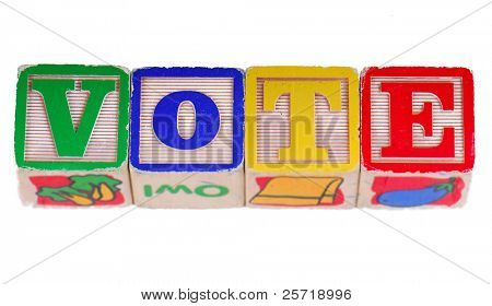 The word VOTE written using antique wooden blocks poster