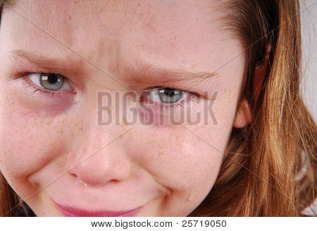 Sad young girl with tears