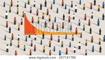 Simple Chart Of Long Tail Marketing Theory For Business Strategy, Vector Illustration Of Crowd