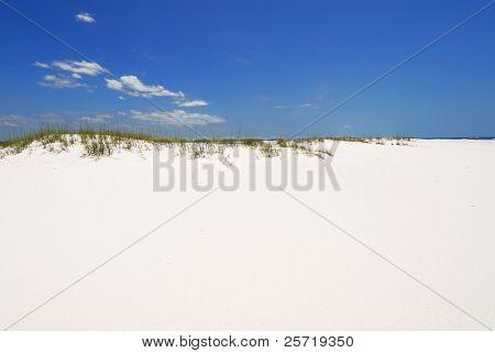 Beautiful white beach sand under blue sky