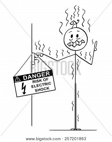 Cartoon Stick Drawing Conceptual Illustration Of Man Touching Uninsulated Conductors Coming From Wal