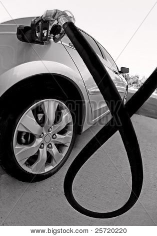 Car getting fuel at gas station poster