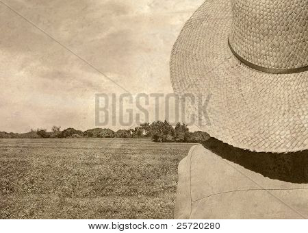 Old fashioned photos of person wearing straw hat looking out over pretty meadow