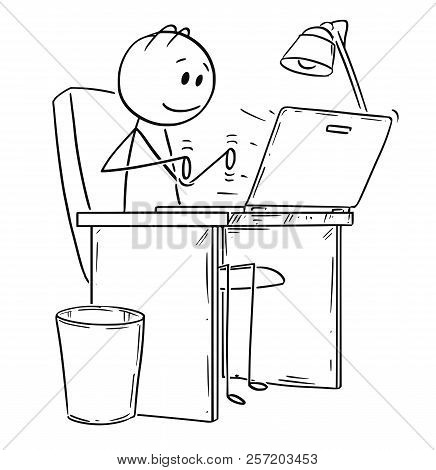 Cartoon Stick Drawing Conceptual Illustration Of Smiling Man Or Businessman Working Or Typing In Off