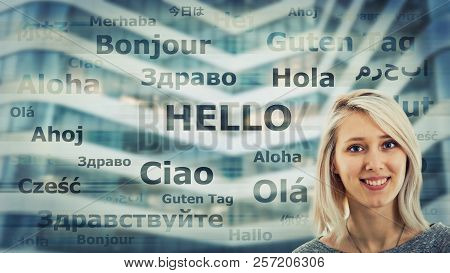 Student Girl Portrait And Word Hello Translated In Different Languages On Modern Background. Young S