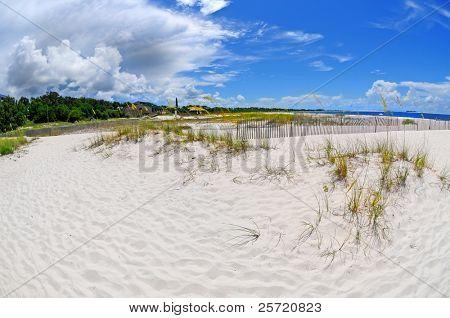 Huge thunderstorm approaching coastal beach
